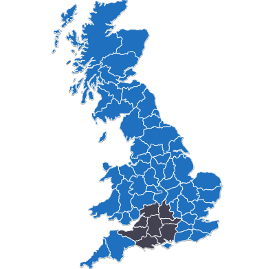 UK map showing the locations we cover in and around wiltshire paving