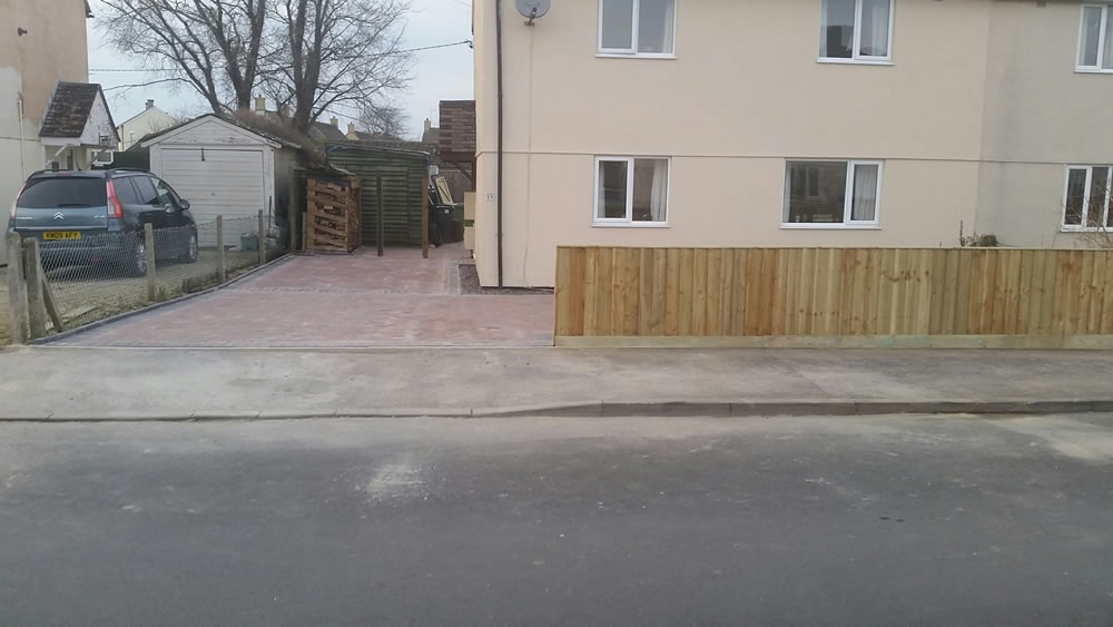 Block paving side and front of house