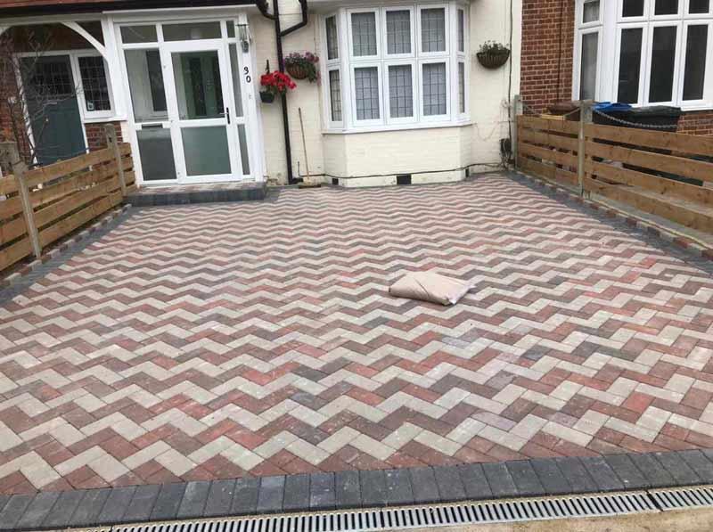 herringbone 2 colour paving