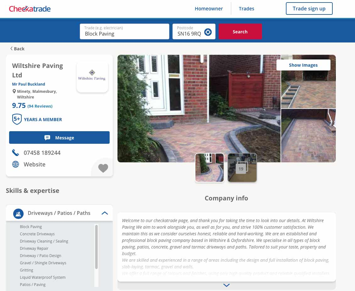 Wiltshire Paving Ltd Check a trade page