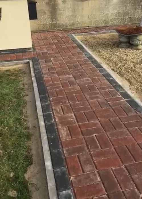 Pathway - omega brindle block paving work carried out by Wiltshire Paving